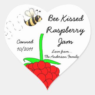 Bee Kissed Raspberry Jam Jar Label (Customize)