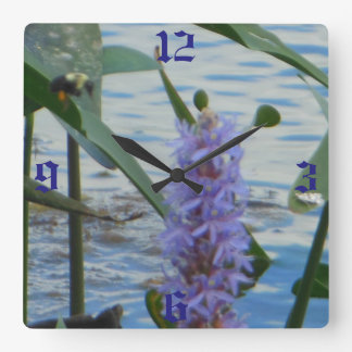 Bee Landing Pickerelweed Square Wall Clock