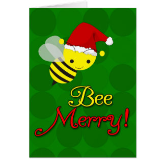 Bee Merry Cute Bumblebee Christmas Cards