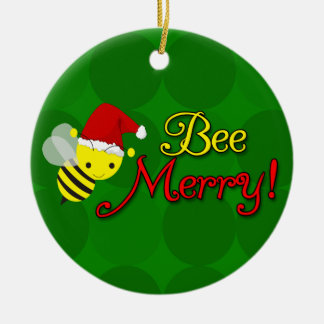 Bee Merry, Cute Bumblebee Holiday Round Ceramic Decoration