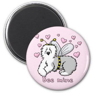 Bee Mine Old English Sheepdog 6 Cm Round Magnet