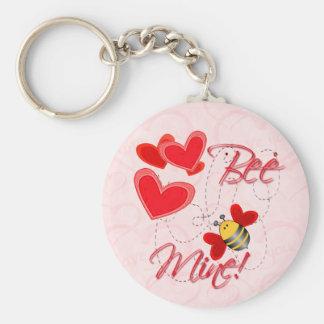 BEE MINE VALENTINE HEARTS by SHARON SHARPE Basic Round Button Key Ring