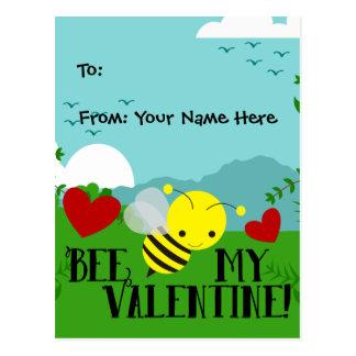 Bee My Valentine Cute Garden Kids Boys Classroom Postcard