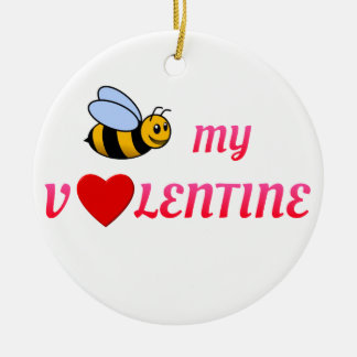 Bee My Valentine Red Christmas Ornament