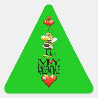 Bee my Valentine, triangle sticker. Triangle Sticker