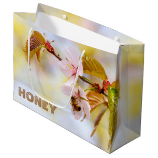 Bee On A Cherry Flower Large Gift Bag