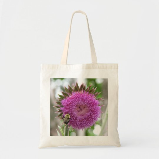 Bee on a Thistle Bloom Tote Bag