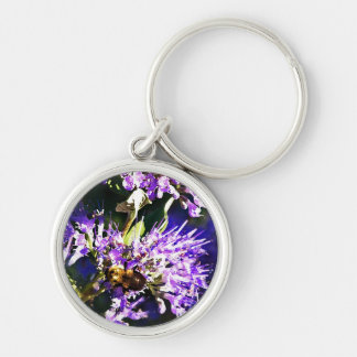 Bee on Butterfly Bush - Lavender Flowers Silver-Colored Round Key Ring