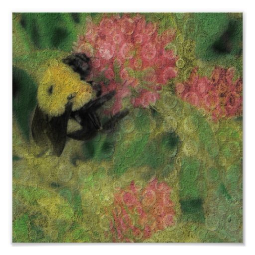 Bee on Clover Digital Art Print