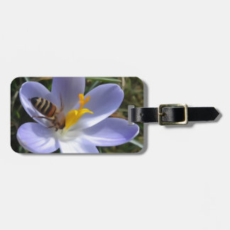 bee on crocus bag tag