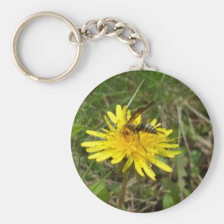 Bee on Dandelion Flower Basic Round Button Key Ring