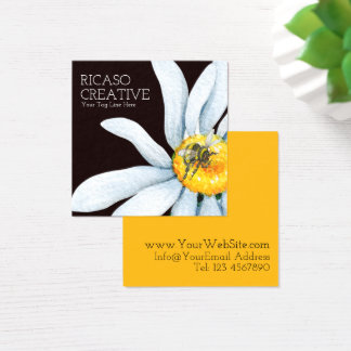 Bee on Flower Custom Personalised Watercolor Square Business Card