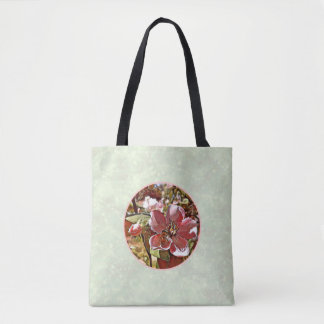 Bee on flower on pistachio green background tote bag