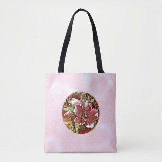 Bee on flower with pink background tote bag