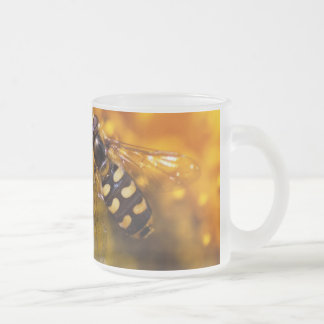 Bee on flowers frosted glass mug