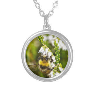 Bee on Lucky White Heather Silver Plated Necklace