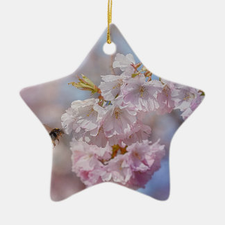 Bee on Pink Blossom Christmas Ornament
