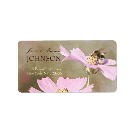 Bee on Pink Flower Address Label