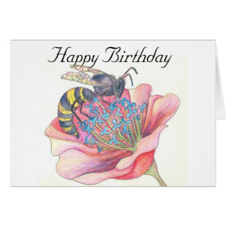 bee on pink flower birthday card