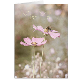 Bee on Pink Flower Card