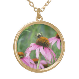 Bee on Purple Coneflower Personalized Necklace