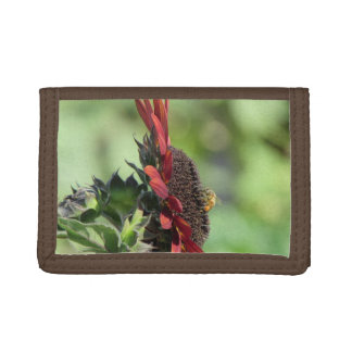 Bee on Red Orange Sunflower Trifold Wallet
