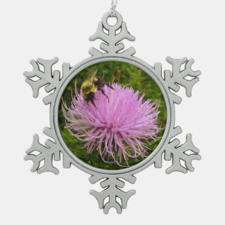 Bee on Thistle Flower Pewter Snowflake Decoration