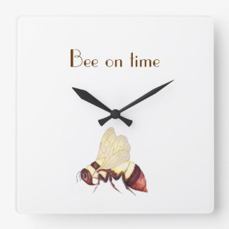 Bee On Time Square Wall Clock