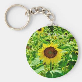 Bee on yellow Sunflower Key Chain