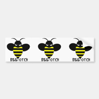 Bee-otch stickers black wings bumper sticker