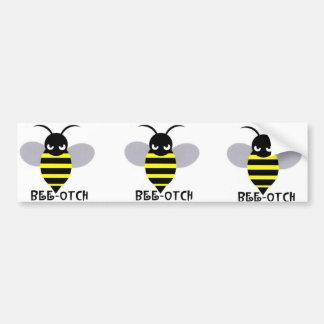 Bee-otch stickers grey wings bumper sticker