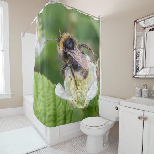 bee photograph shower curtain