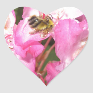 Bee pink flowers and lady bug items heart sticker