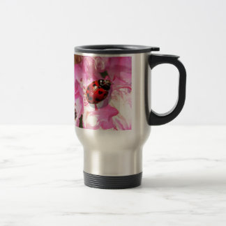 Bee pink flowers and lady bug items stainless steel travel mug