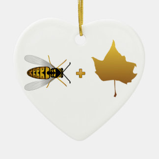 Bee plus a golden maple leaf = Bee + Leaf (Belief) Christmas Ornament