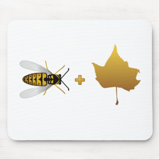 Bee plus a golden maple leaf Bee + Leaf Belief Mousepad