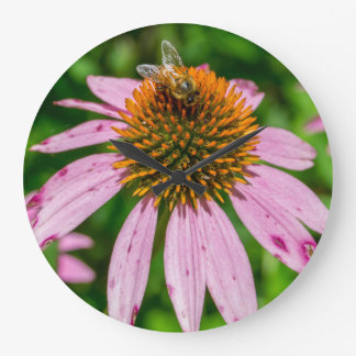 Bee Pollinating Wildflowers in New Mexico Large Clock