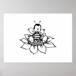 Bee Sitting on Flower Print