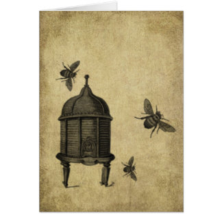 Bee Skep & Bees- Prim Lil Note Cards