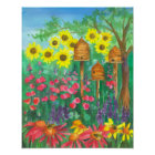 Bee Skep Coneflower Garden Watercolor Sunflowers Poster