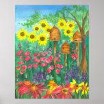 Bee Skep Coneflower Garden Watercolor Sunflowers Poster