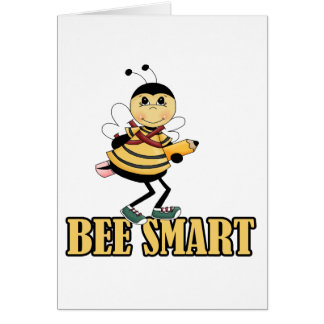 bee smart bumble bee with pencil greeting card