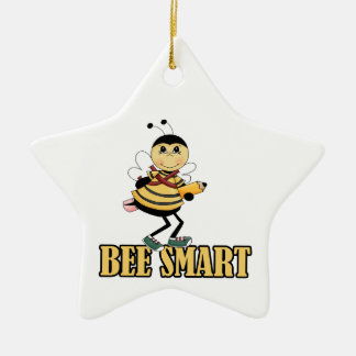 bee smart bumble bee with pencil ceramic star decoration