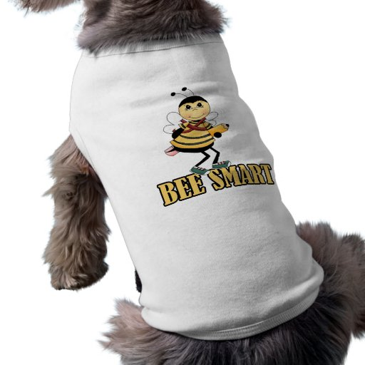 bee smart bumble bee with pencil dog tee