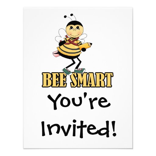 bee smart bumble bee with pencil custom announcements