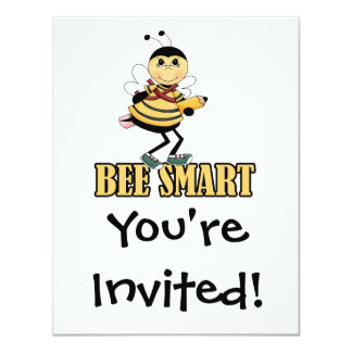"bee smart bumble bee with pencil 4.25"" x 5.5"" invitation card"