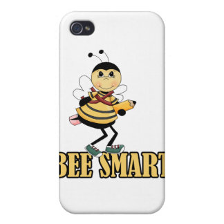 bee smart bumble bee with pencil iPhone 4 cases