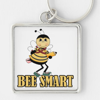 bee smart bumble bee with pencil Silver-Colored square key ring