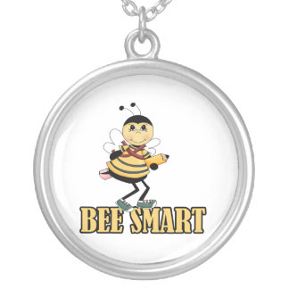 bee smart bumble bee with pencil personalized necklace