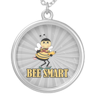 bee smart bumble bee with pencil round pendant necklace